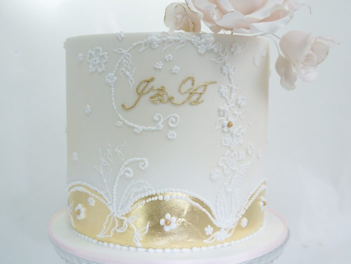Intricate Engagement Cake