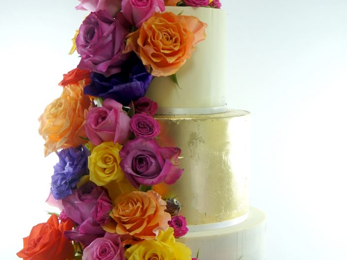 Cascading Roses Wedding Cake