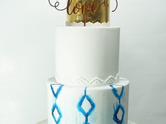 Blue Cyclades Wedding Cake
