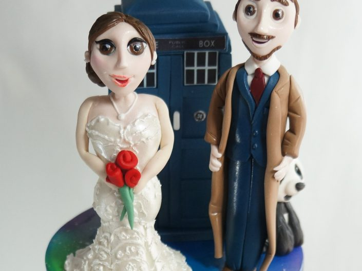 Belle & Dr Who Bride and Groom Sugar Figurines