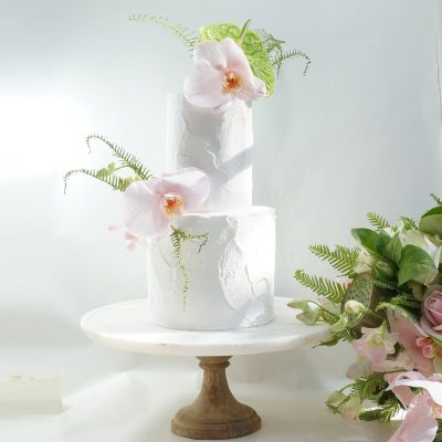 Wedding white pink orchids